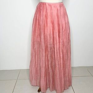Thierry Colson Pink Pleated Maxi Skirt